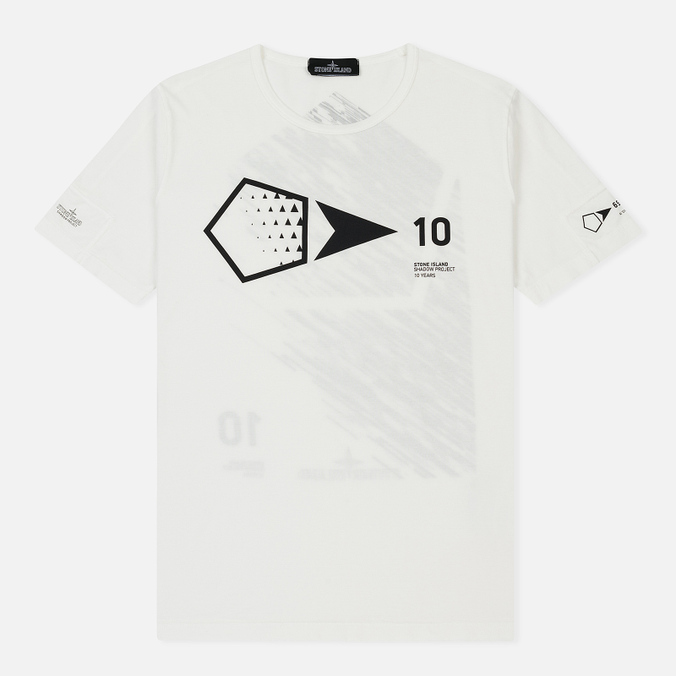 Мужская футболка Stone Island Shadow Project 10th Anniversary Print Graphic Natural White
