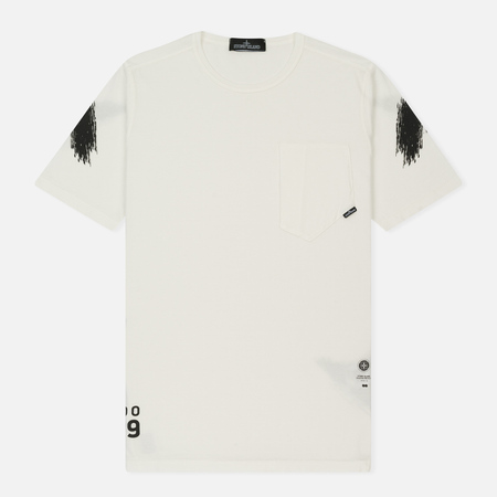 Мужская футболка Stone Island Shadow Project Catch Pocket Off White