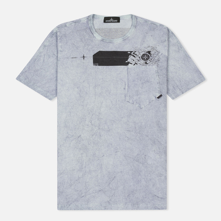Мужская футболка Stone Island Shadow Project Cotton Jersey Catch Pocket Blue