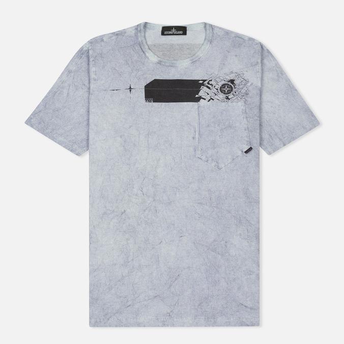 Мужская футболка Stone Island Shadow Project Cotton Jersey Catch Pocket Blue