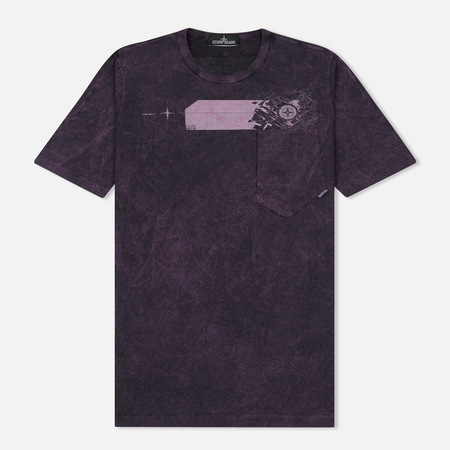 Мужская футболка Stone Island Shadow Project Cotton Jersey Catch Pocket Purple