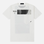 Мужская футболка Stone Island Shadow Project Geometric Print Front Natural White фото- 0