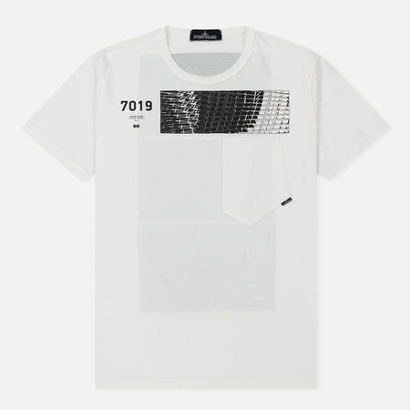 Мужская футболка Stone Island Shadow Project Geometric Print Front Natural White