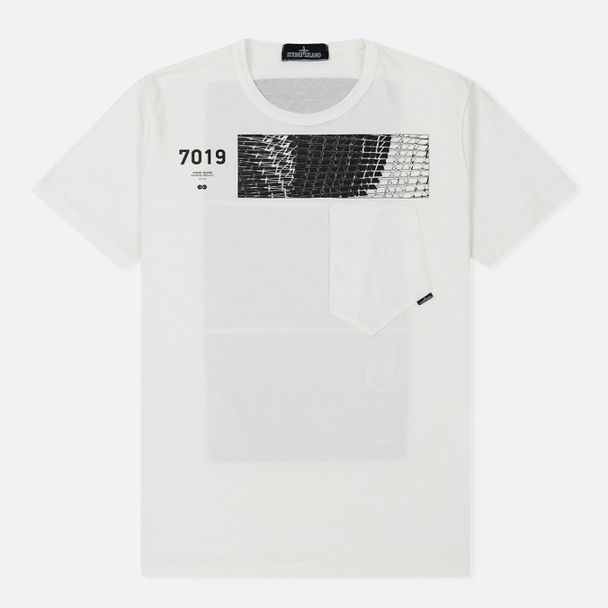 Мужская футболка Stone Island Shadow Project Geometric Print Front Natural White