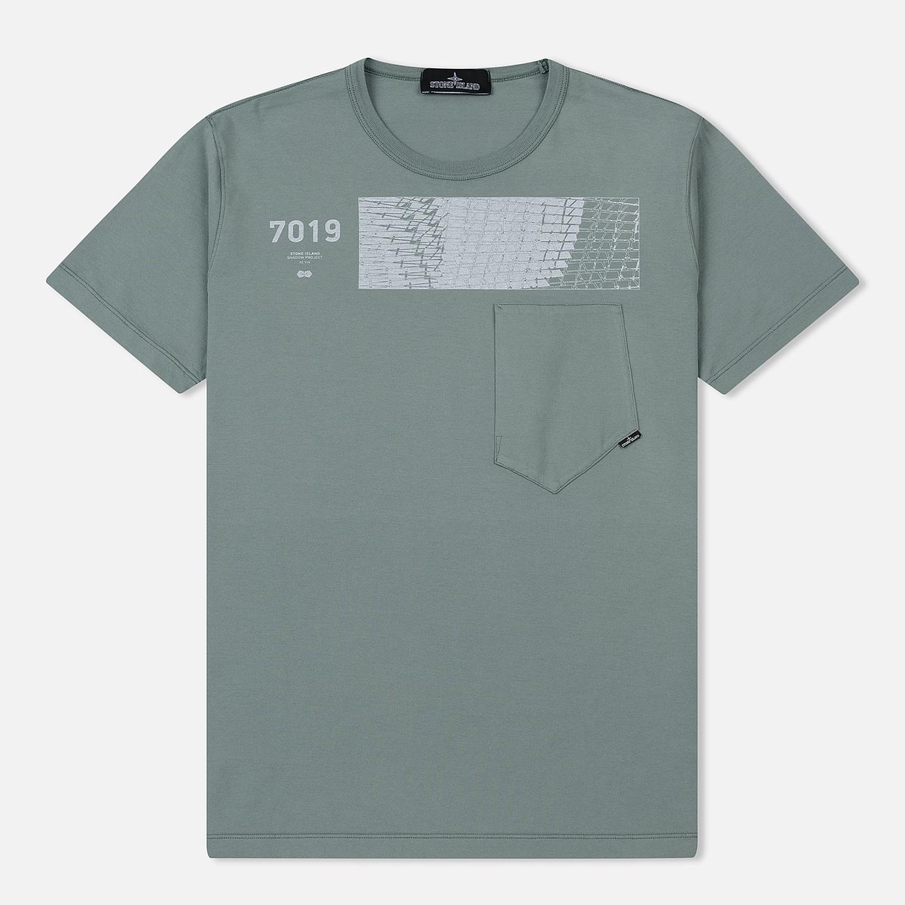 Мужская футболка Stone Island Shadow Project Geometric Print Front Sage Green
