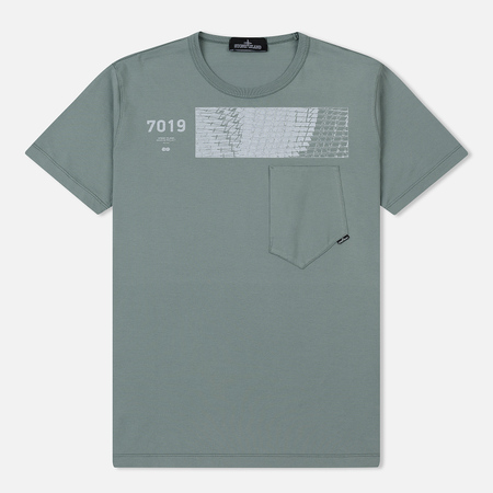 Мужская футболка Stone Island Shadow Project Geometric Print Front Sage Green