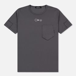 Мужская футболка Stone Island Shadow Project Printed Catch Pocket Garment Dyed Dark Grey