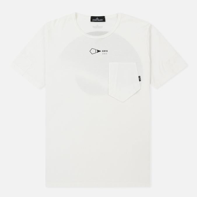 Мужская футболка Stone Island Shadow Project Printed Catch Pocket Garment Dyed Natural White
