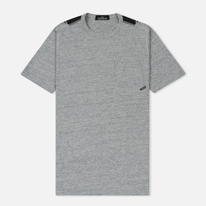 Мужская футболка Stone Island Shadow Project Printed Catch Pocket Steel Grey/Black