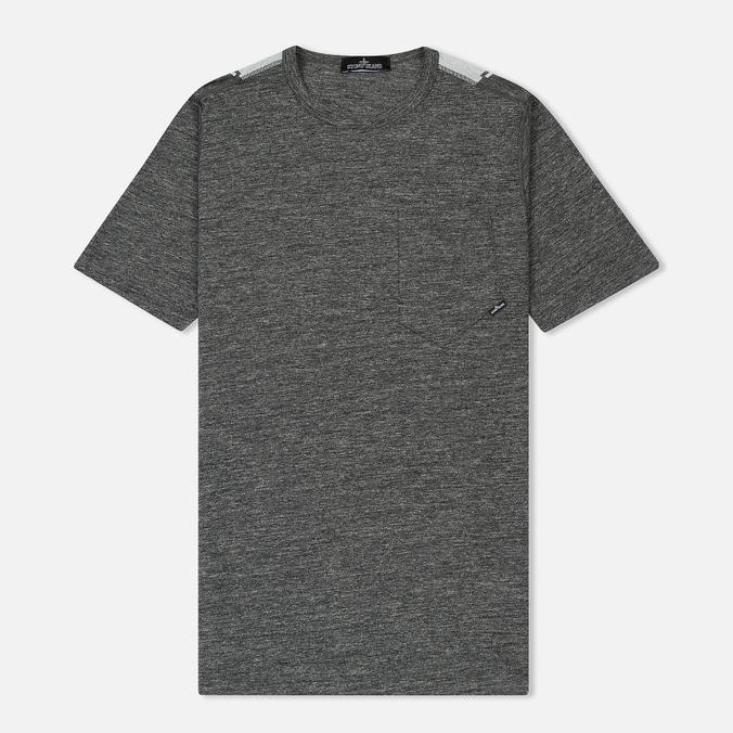 Мужская футболка Stone Island Shadow Project Printed Catch Pocket Steel Grey/White