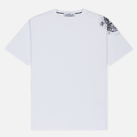 Мужская футболка Stone Island Shoulder Pin White