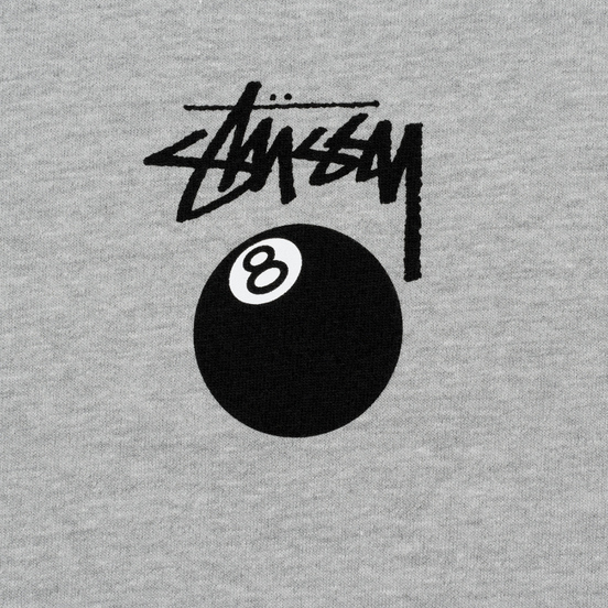 Мужская футболка Stussy 8 Ball Grey Heather/Black