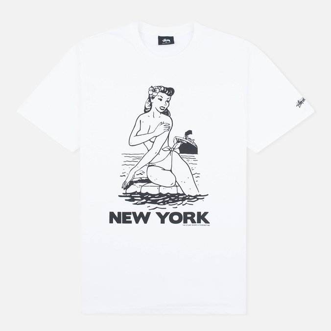 Stussy Aloha Cities New York Men's T-shirt White/Black