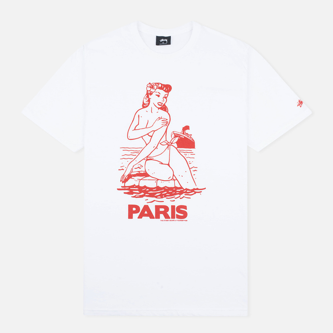 Мужская футболка Stussy Aloha Cities Paris White/Red