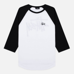 Stussy Basic 3/4 Sleeve Raglan Men's T-Shirt White/Black photo- 0
