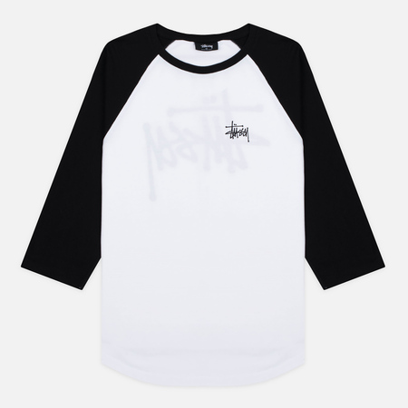 Stussy Basic 3/4 Sleeve Raglan Men's T-Shirt White/Black