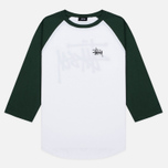 Мужская футболка Stussy Basic 3/4 Sleeve Raglan White/Green фото- 0