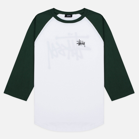 Stussy Basic 3/4 Sleeve Raglan Men's T-Shirt White/Green