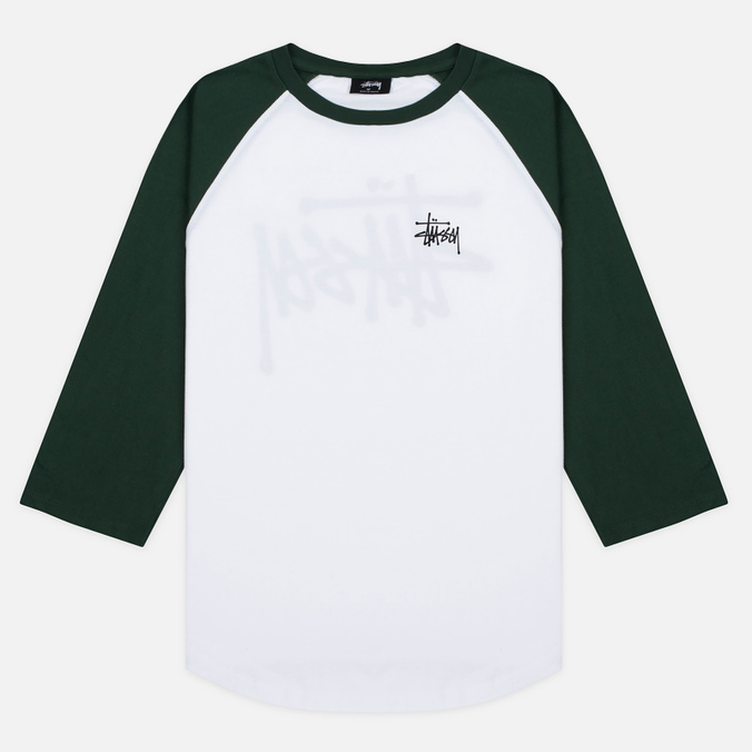 Мужская футболка Stussy Basic 3/4 Sleeve Raglan White/Green