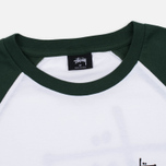 Мужская футболка Stussy Basic 3/4 Sleeve Raglan White/Green фото- 1
