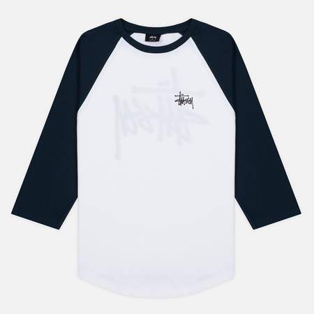 Stussy Basic 3/4 Sleeve Raglan Men's T-Shirt White/Navy