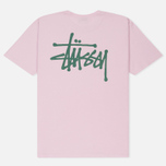 Мужская футболка Stussy Basic Light Lavender/Green фото- 4