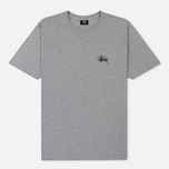 Мужская футболка Stussy Basic Stussy Crew Neck Printed Logo Grey Heather фото- 0