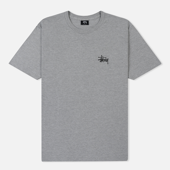 Мужская футболка Stussy Basic Stussy Crew Neck Printed Logo Grey Heather