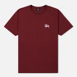 Мужская футболка Stussy Basic Stussy Crew Neck Printed Logo Wine фото- 0