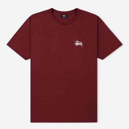 Мужская футболка Stussy Basic Stussy Crew Neck Printed Logo Wine