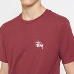 Мужская футболка Stussy Basic Stussy Crew Neck Printed Logo Wine фото- 7