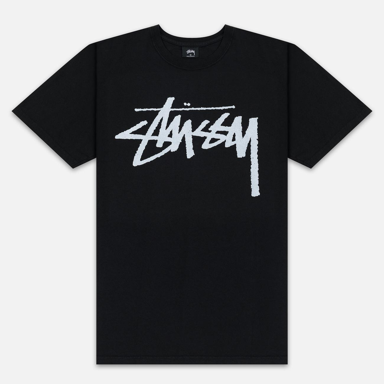 Мужская футболка Stussy Stock Pigment Dyed Black/White