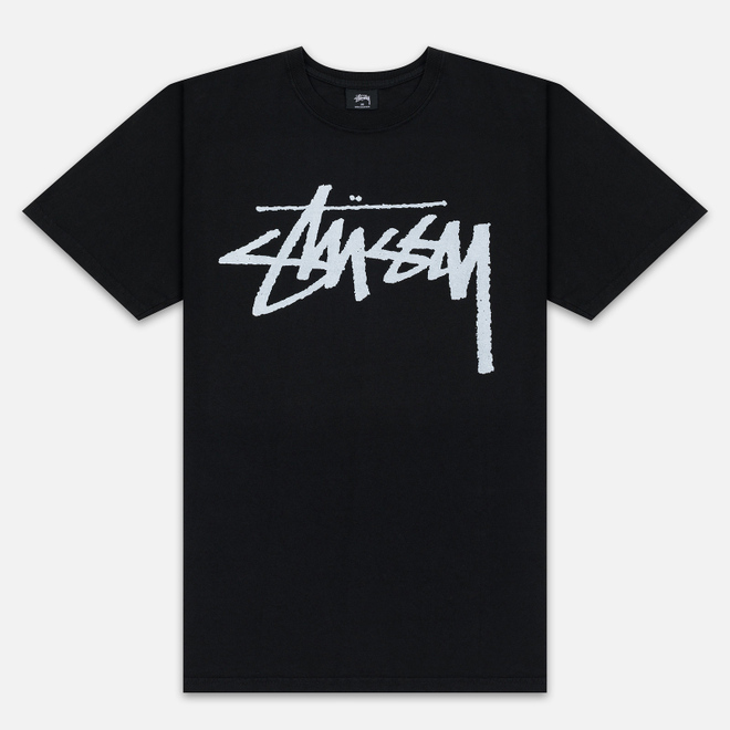 Мужская футболка Stussy Stock Pigment Dyed Black/White