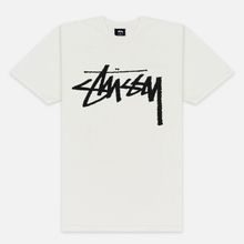 Мужская футболка Stussy Stock Pigment Dyed Natural/Black фото- 0