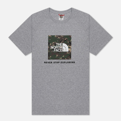 Мужская футболка The North Face SS Rag Red Box TNF Light Grey Heather/English Green