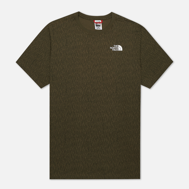 Мужская футболка The North Face SS Red Box Burnt Olive Green Rain Camo Print