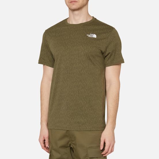 Мужская футболка The North Face SS Red Box Burnt Olive Green Rain Camo Print