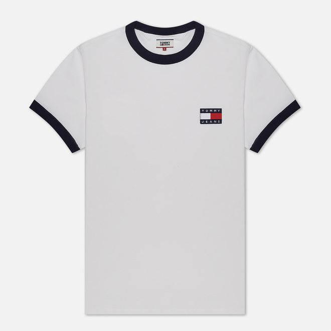 Мужская футболка Tommy Jeans Branded Ringer White/Twilight Navy