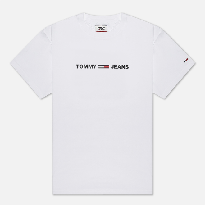 Мужская футболка Tommy Jeans Straight Small Logo Regular Fit Classic White