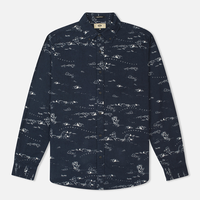 Мужская рубашка Uniformes Generale Stay Wild Button Down Indigo/Ecru