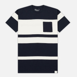 Мужская футболка White Mountaineering Multi Border Pocket Navy/White фото- 0