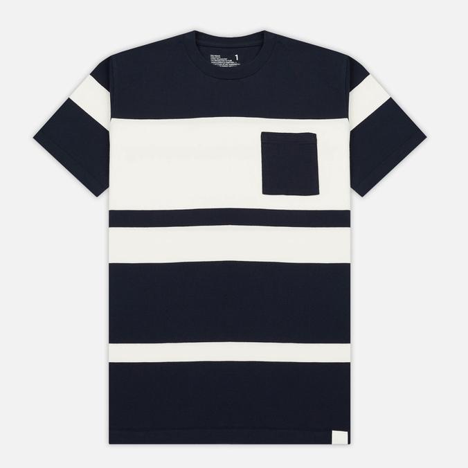 Мужская футболка White Mountaineering Multi Border Pocket Navy/White