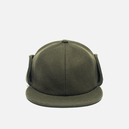 Norse Projects Melton Earflap 6 Panel Men's Cap Dried Olive