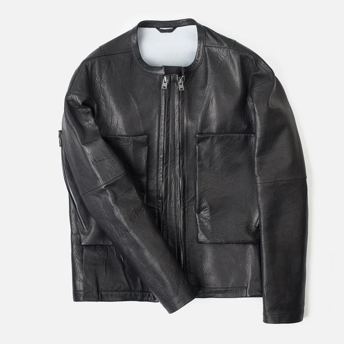 Мужская кожаная куртка Acronym x Nemen Double Zipper Rider Black
