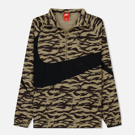 Мужская куртка анорак Nike Woven Swoosh All Over Print Khaki/Black/Black