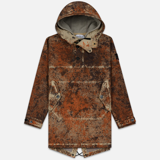 Мужская куртка анорак Stone Island Paintball Camo Fishtail Dark Brown