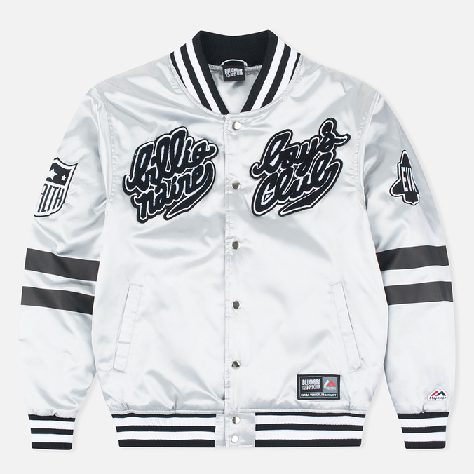 Мужская куртка бомбер Billionaire Boys Club x Majestic Eva Stadium Silver/Black