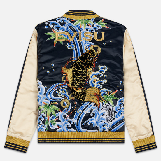 Мужская куртка бомбер Evisu Digital Print Wave Carp Applique Souvenir Dark Navy