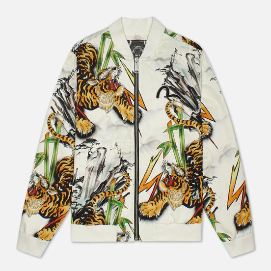 Мужская куртка бомбер Evisu Evergreen Tiger Landscape All Over Printed Ecru Multicolor