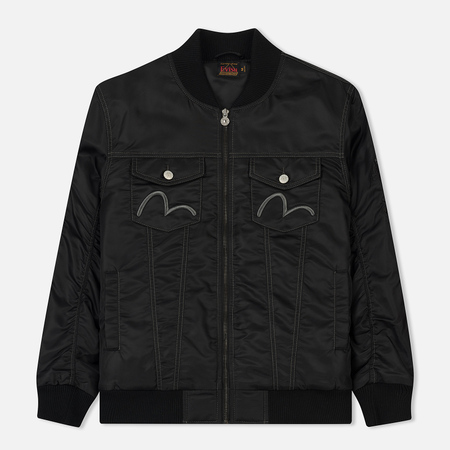 Мужская куртка бомбер Evisu Seagull And Koi Embroidered Zip-Up Black